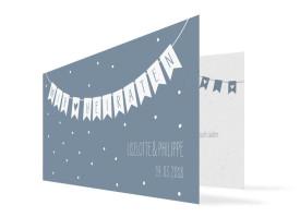 Hochzeitseinladung Wimpelkette mit Foto (Klappkarte DL) Graublau