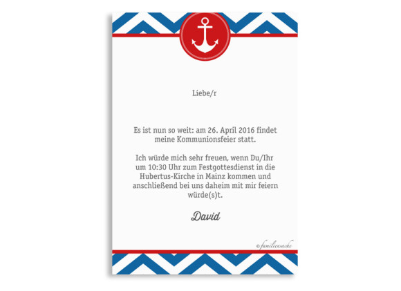 Einladungskarten zur Kommunion Hamptons Anchor, Rückseite der Farbversion: blau/rot