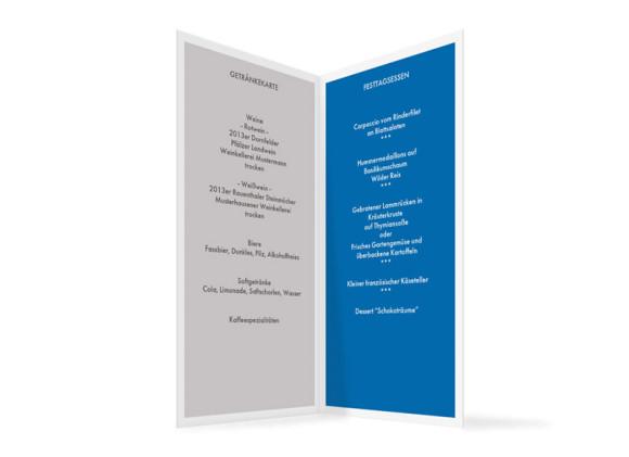Menükarten zur Hochzeit und Taufe Athen, Innenansicht der Farbversion: blau