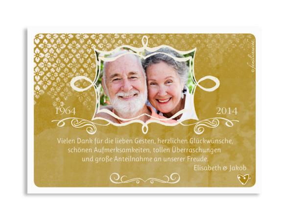 Danksagungen Goldene Hochzeit Turteltauben, Rückseite der Farbversion: beige