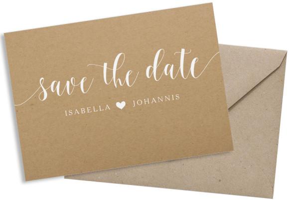Save the date (Postkarte, Kraftpapier), Motiv: Malaga, mit Briefhülle, Farbvariante: weiß