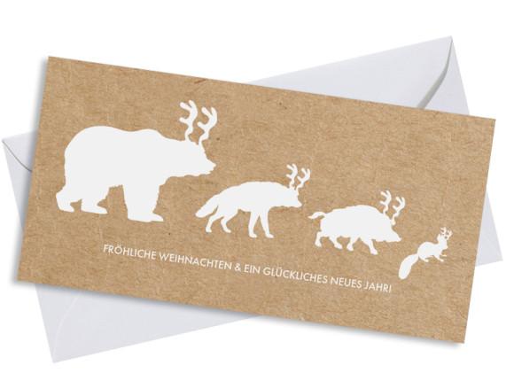 Weihnachtskarte Waldtiere mit Umschlag, Farbversion: weiß