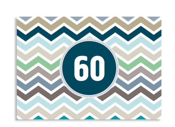 Einladungskarte ZigZag zum 60. Geburtstag