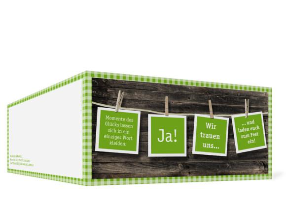 Außenansicht, Klappkarte zur Hochzeit ohne Fotos (Format DIN Lang), Motiv Alpenglühen, Farbversion: grün