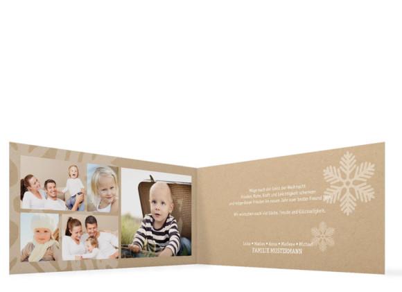 Weihnachtskarten Eissterne, Innenansicht in Weiß