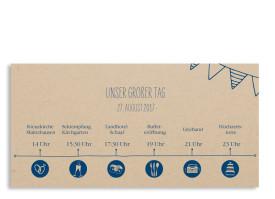 Einladungskarten zur Hochzeit Timeline Cute Dunkelblau
