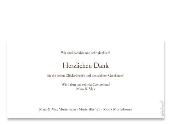 Rückseite, Postkarte zur Geburt, Motiv Celine/Constantin, Farbversion: braun