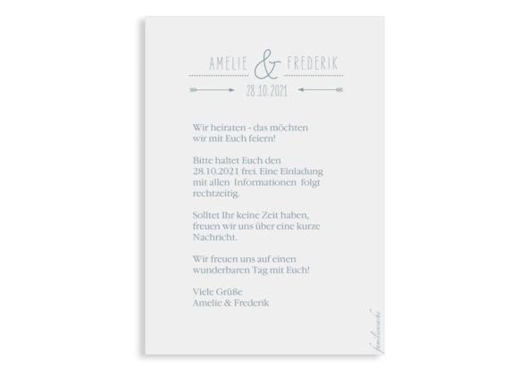 Save-the- Date (Postkarte A6), Motiv: Rotterdam, Rückseite, Farbvariante: blau