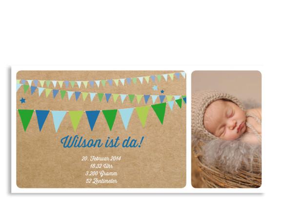 Babykarte Wilma/Wilson (Postkarte, mit 2 Fotos)