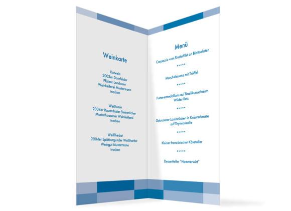 Innenansicht, Menükarte zur Hochzeit (Klappkarte), Motiv Stockholm, Farbversion: blau