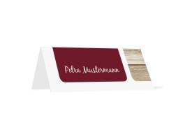 Tischkarten zur Hochzeit Zürich (Klappkärtchen quer) Bordeaux