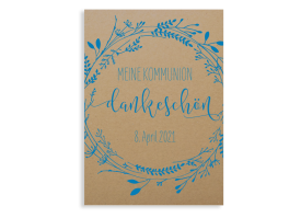 """Kommunionsdanksagung """"Blumenkranz Natural"""" (Postkarte) blau"""