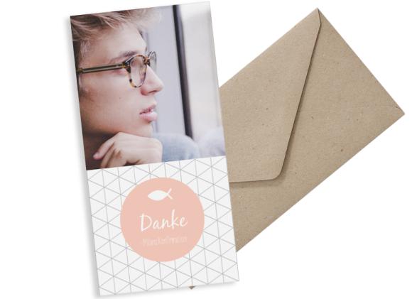 Konfirmationsdanksagung (Postkarte DL hoch, ein Foto), Motiv: KFD Segen, mit Briefhülle, Farbvariante: apricot