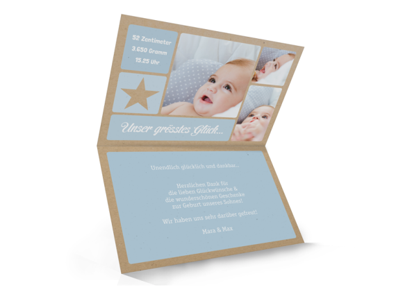 Karten zur Geburt (Klappkarte, Kraftpapier), Motiv: Lucia/Luca natural (Kraftpapier), Innenansicht, Farbvariante: hellblau