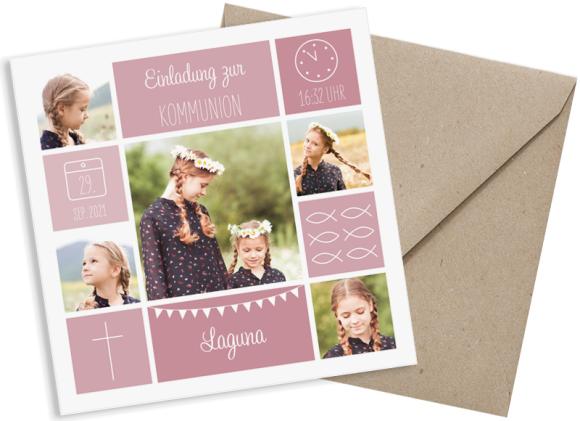 Kommunionseinladungen  (quadratische Postkarte mit fünf Fotos), Motiv: Bildreich, mit Briefhülle, Farbvariante: altrosa