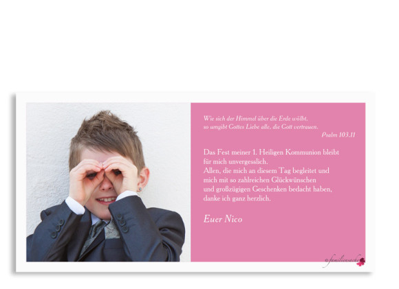 Dankeskarten zur Kommunion Nizza/Nico, Rückseite in pink