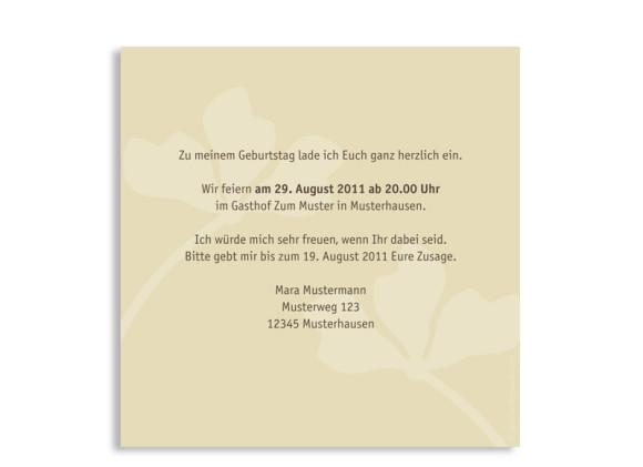 Rückseite, Einladungskarte, Motiv Growing, Farbversion: beige