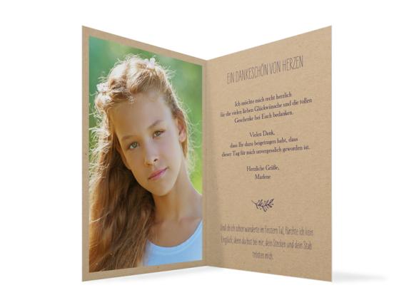 Konfirmationsdanksagung (Klappkarte C6), Motiv: Nature, Innenansicht, Farbvariante: aubergine