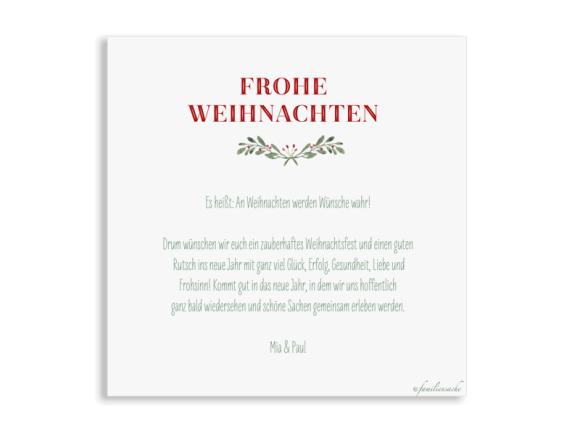 quadratische Weihnachtspostkarte, Motiv: Wintereinzug, Rückseite, Farbvariante: beerenrot