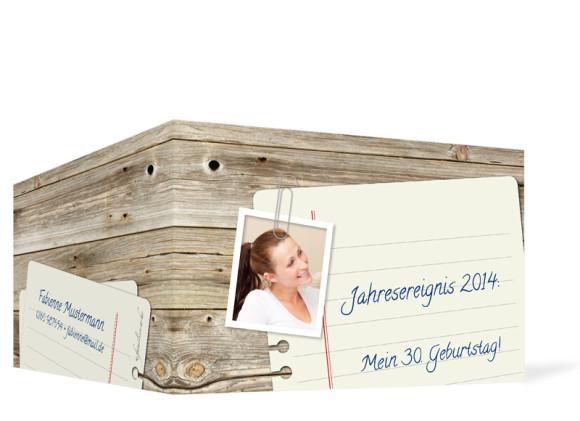 Einladungskarten Notizzettel, Außenansicht der Farbversion: braun