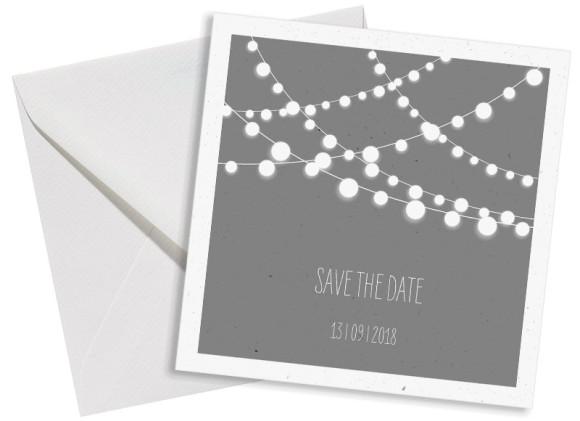 Save the Date-Postkarte 150x150, Ansicht mit Umschlag in grau