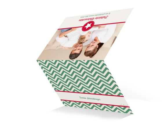 Weihnachtskarte Hamptons Christmas, Außenansicht der Farbversion: oliv/rot