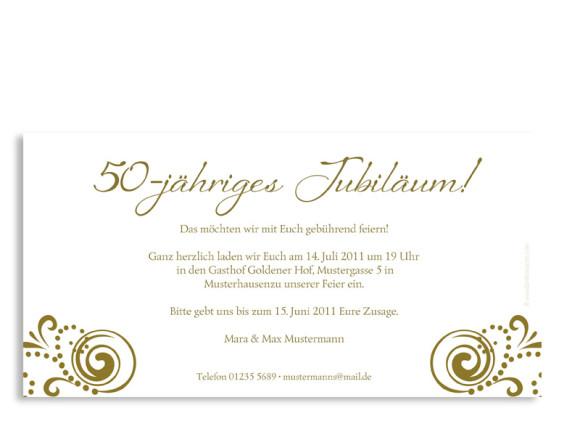 Rückseite, Einladungs-Postkarte zur Goldhochzeit, Motiv Goldene Zeiten, Farbversion: beige