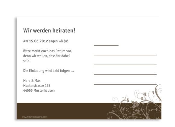 Rückseite, Einladungs-Postkarte zur Hochzeit, Motiv Wien, Farbversion: braun