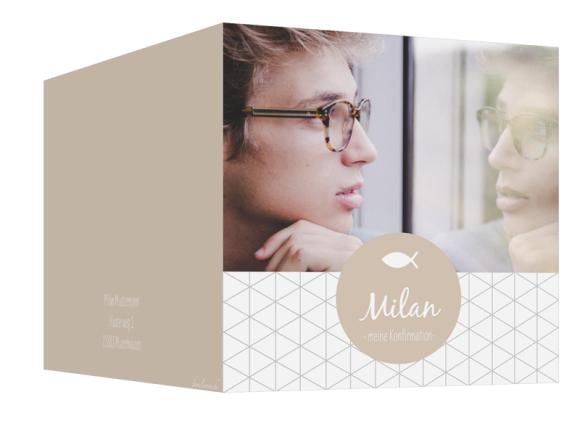 Einladung Konfirmation (300 x 150 mm), Motiv: Segen, Aussenansicht, Farbvariante: beige