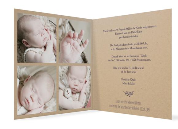 Einladungskarten Taufe (quadratische Klappkarte, vier Fotos), Motiv: Nature, Innenansicht, Farbvariante: aubergine