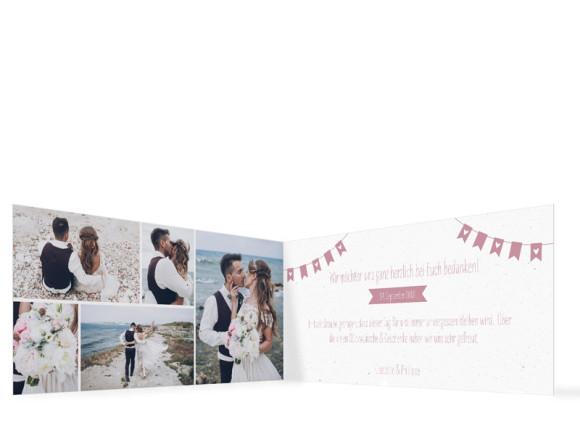 Danksagung zur Hochzeit, Motiv: Wimpelkette, Innenansicht, Farbvariante: Altrosa