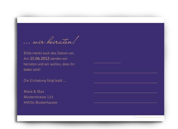 Rückseite, Einladungs-Postkarte zur Hochzeit, Motiv Delhi, Farbversion: blau