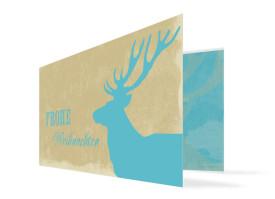 Weihnachtskarte Holy Moose (Klappkarte, DL) Blau