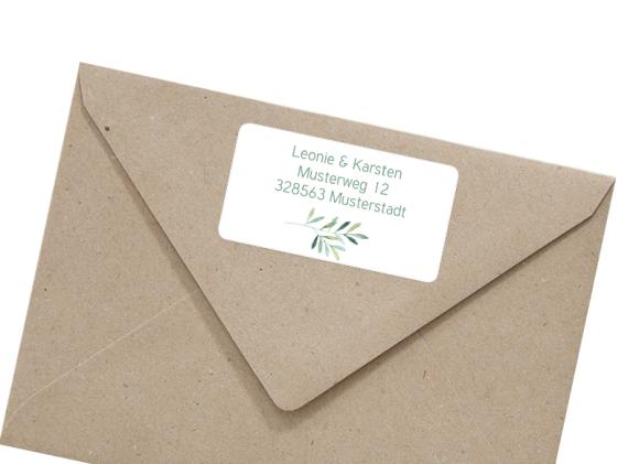 Adressetiketten (66x35 mm), Motiv: Blätterkranz, mit Briefhülle, Farbvariante: gruen