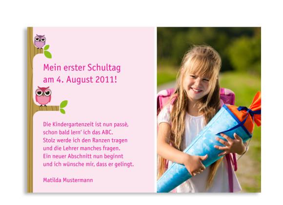Rückseite, Postkarte zur Einschulung, Motiv Baumschule, Farbversion: pink