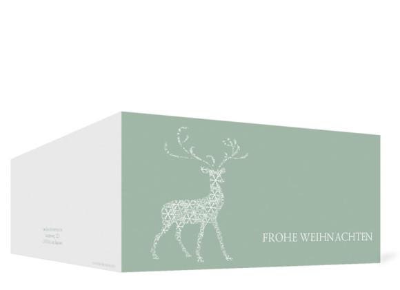 Außenansicht, Weihnachtskarte (Format DIN Lang), Motiv Holy Deer, Farbversion: graugrün