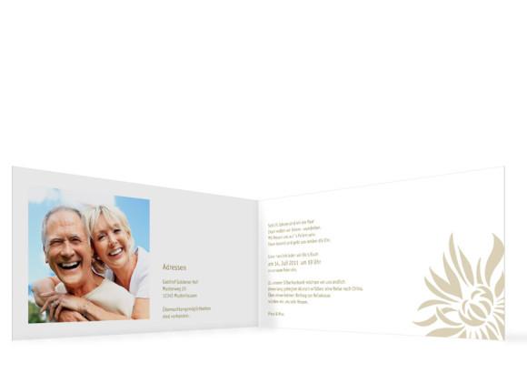 Innenansicht, Einladungs-Klappkarte zur Silbernen Hochzeit (Format DIN Lang), Motiv Florenz, Farbversion: beige