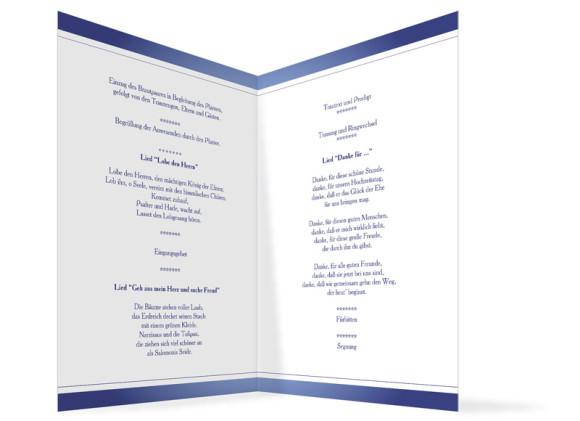 Innenansicht, Klappkarte zur Hochzeit (Kirchenheft), Motiv Mailand, Farbversion: blau
