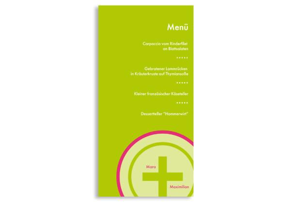 Rückseite, Menükarte zur Hochzeit (DIN Lang-Karte, zweiseitig), Motiv A+B, Farbversion: gruen-pink
