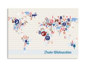 Weihnachtskarte Weltkarte (Postkarte) Blau