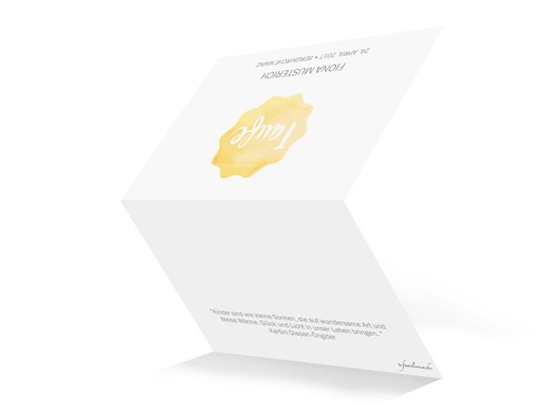 Einladungskarten Zur Taufe Sonne; Einladungskarten Zur Taufe Sonne,  Außenansicht In Gelb ...