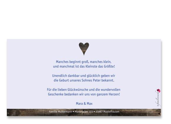 Postkarte zur Geburt, Motiv Heidi/Peter, Farbversion: blau