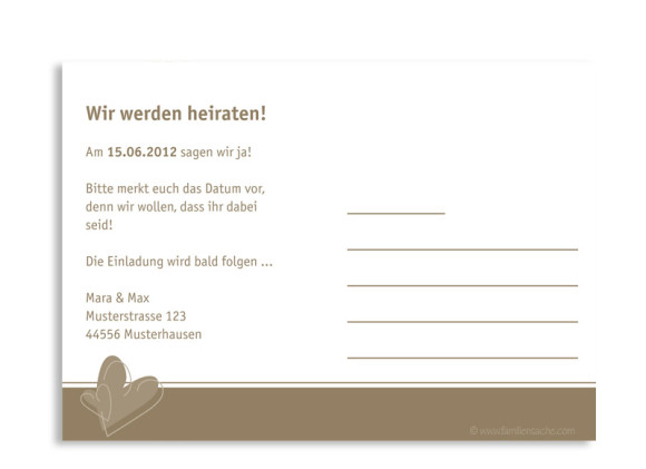 Rückseite, Einladungs-Postkarte zur Hochzeit, Motiv London, Farbversion: beige