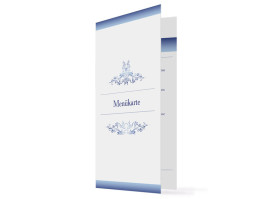 Menükarten Hochzeit Mailand (Klappkarte, hochkant) Blau