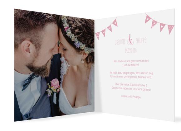 Hochzeitsdanksagung (quad. Klappkarte - 300 x 150 mm), Motiv: Malmö, Innenansicht, Farbvariante: rosa