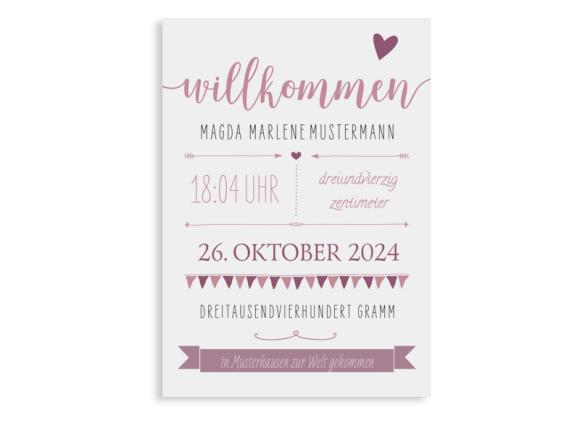 """Geburtskarte """"Magda/Mark"""""""