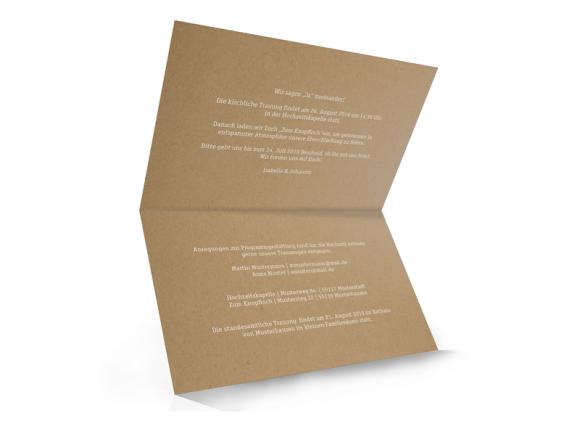 Hochzeitseinladung (Kraftpapier, Klappkarte A6), Motiv: Gent Natural, Innenansicht, Farbvariante: weiss