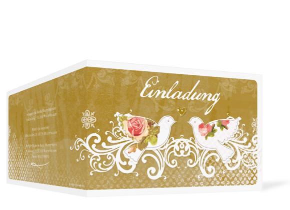 Einladung zur goldenen Hochzeit Turteltauben, Außenansicht