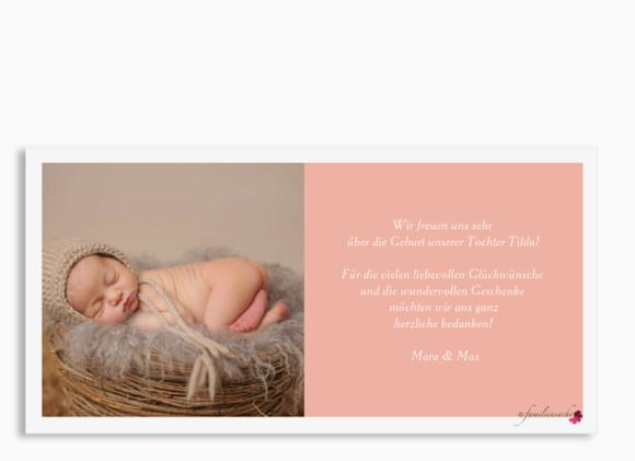 Geburtskarte, Motiv Tilda/Till, Postkarte DIN Lang, Farbversion: apricot, Rückseite