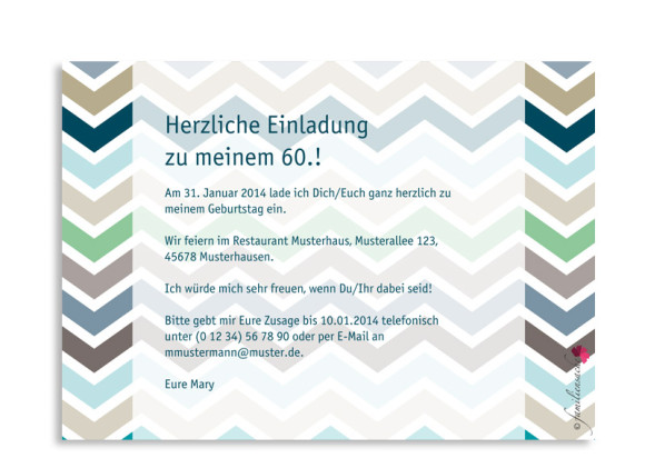 Rückseite, Einladung zum 60., Motiv ZigZag, Farbversion: blau